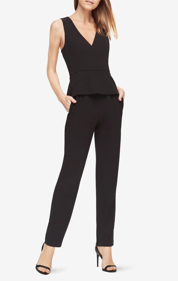 46bd3380b50 Bcbgmaxazria Cerys Peplum Jumpsuit in Black - Lyst
