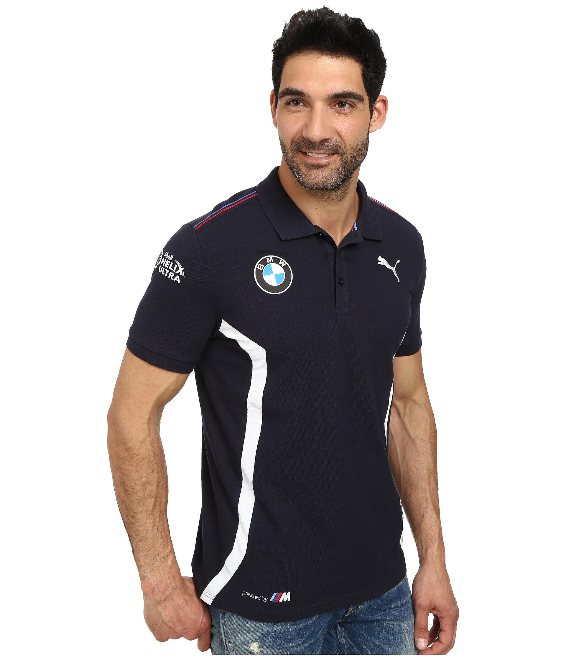 Bmw M Stripes: Puma Bmw Team Polo In Blue For Men