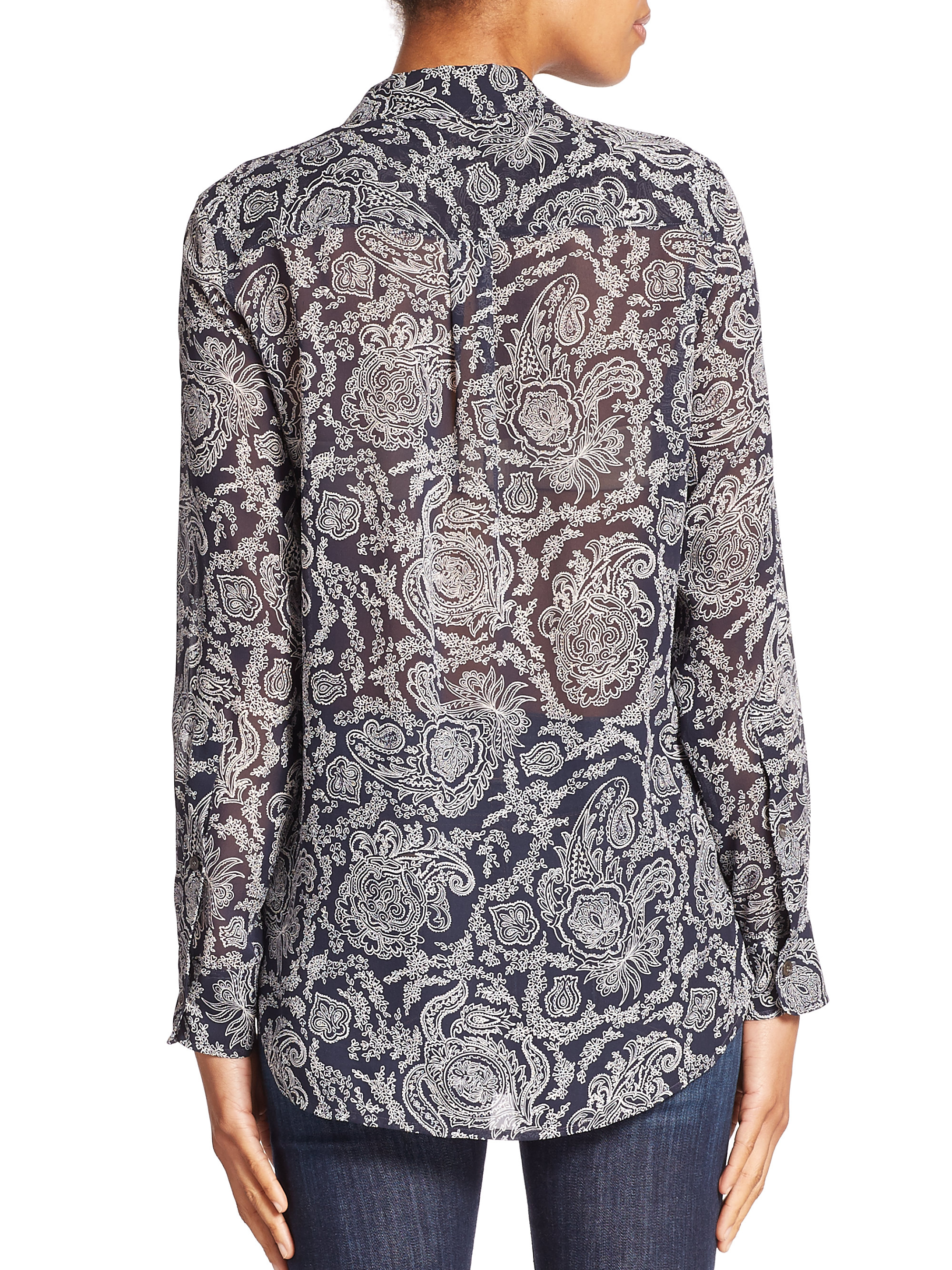 Lyst Theory Simara Silk Paisley Print Blouse In Blue