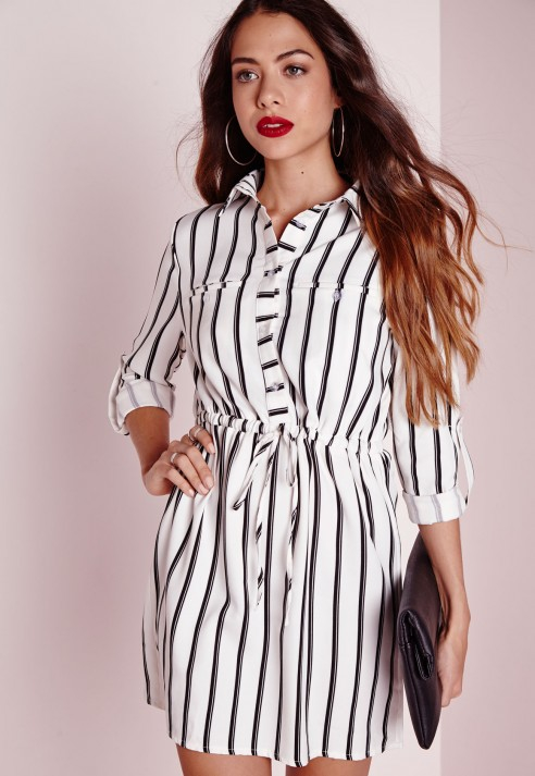 Missguided drawstring waist shirt dress white stripe in for White non iron dress shirts