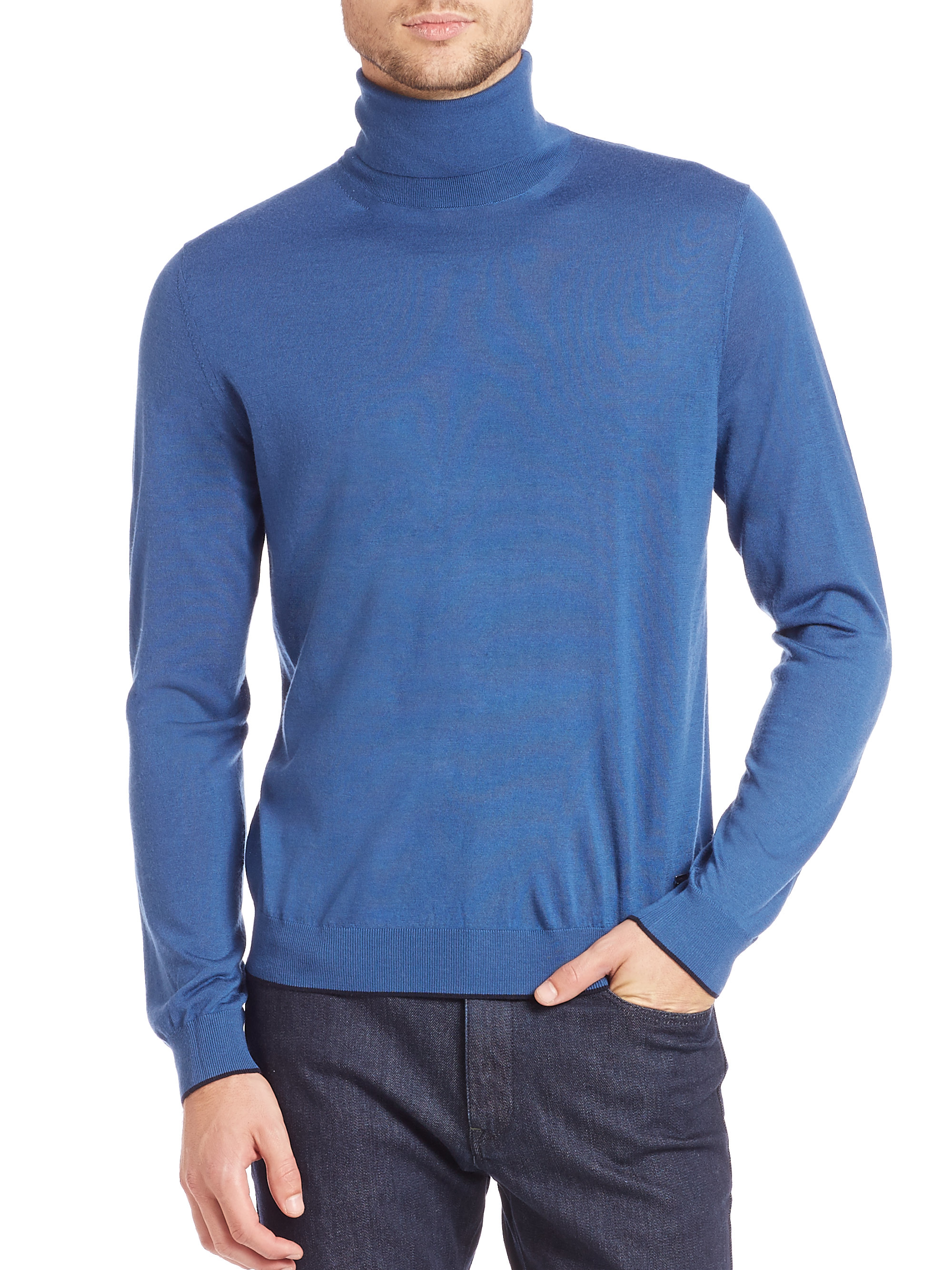 Z zegna Merino Wool Turtleneck Sweater in Blue for Men | Lyst