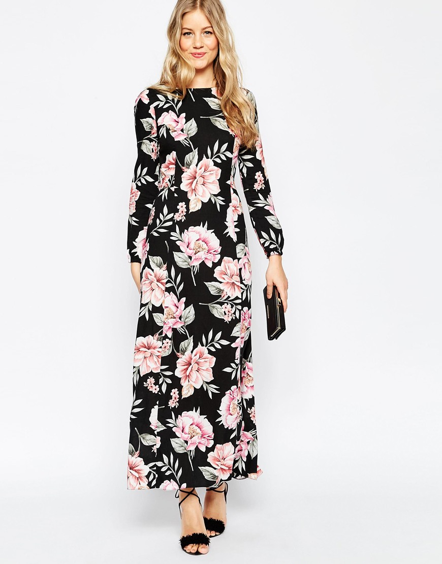 Lyst - Asos Floral Maxi Dress With Tie Front in Black