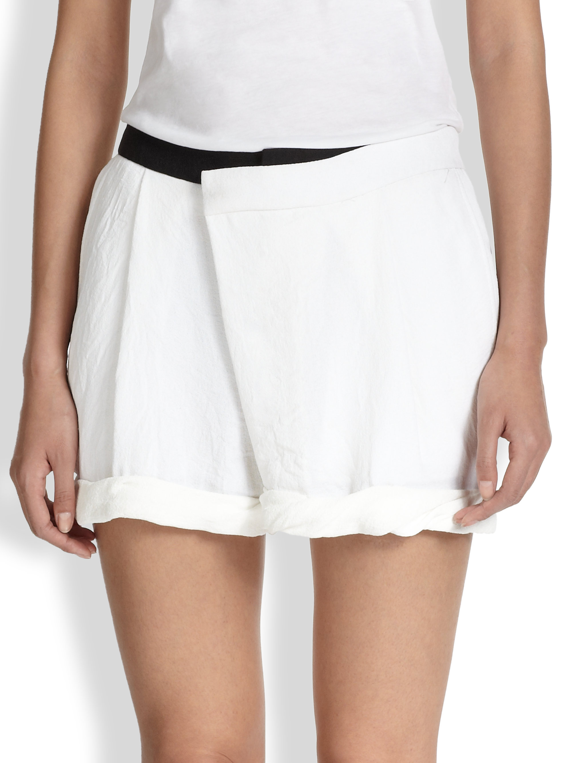 Lyst - Helmut Lang Drapefront Origami Shorts in White - photo#7