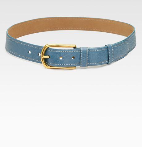 Prada Pebbled Leather Beltnarrow in Blue (marine)
