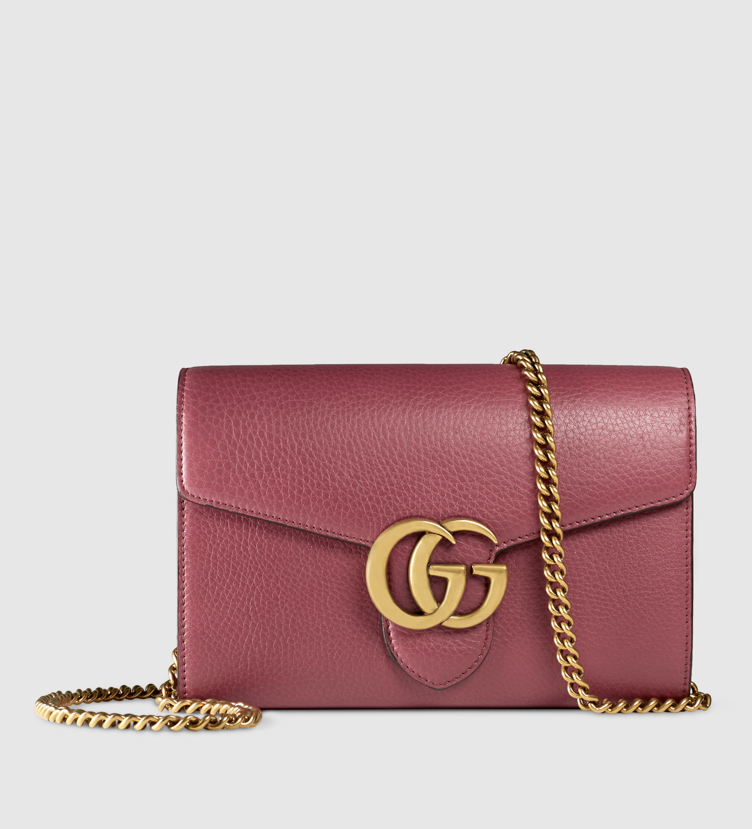 Lyst - Gucci Gg Marmont Leather Chain Wallet in Purple