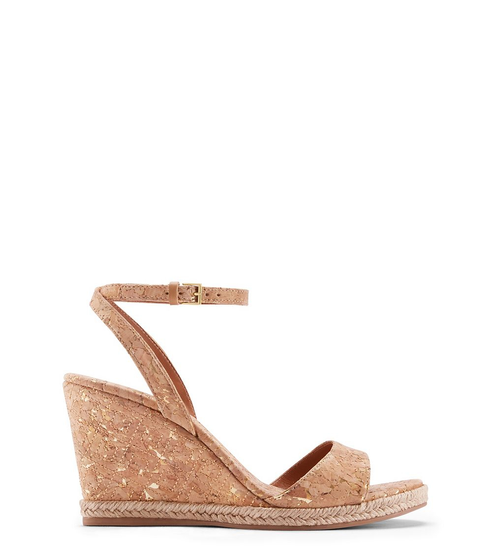 bf37291e3fc7 Tory Burch Marion Quilted Espadrille Wedge Sandal in Natural - Lyst