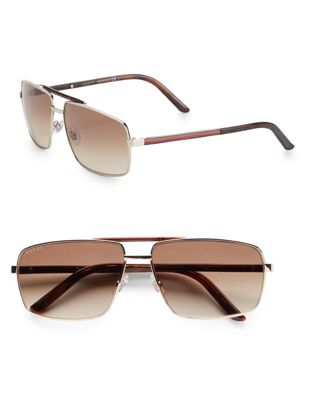 c5306e8b39 Gucci 61mm Square Aviator Sunglasses in Metallic for Men - Lyst