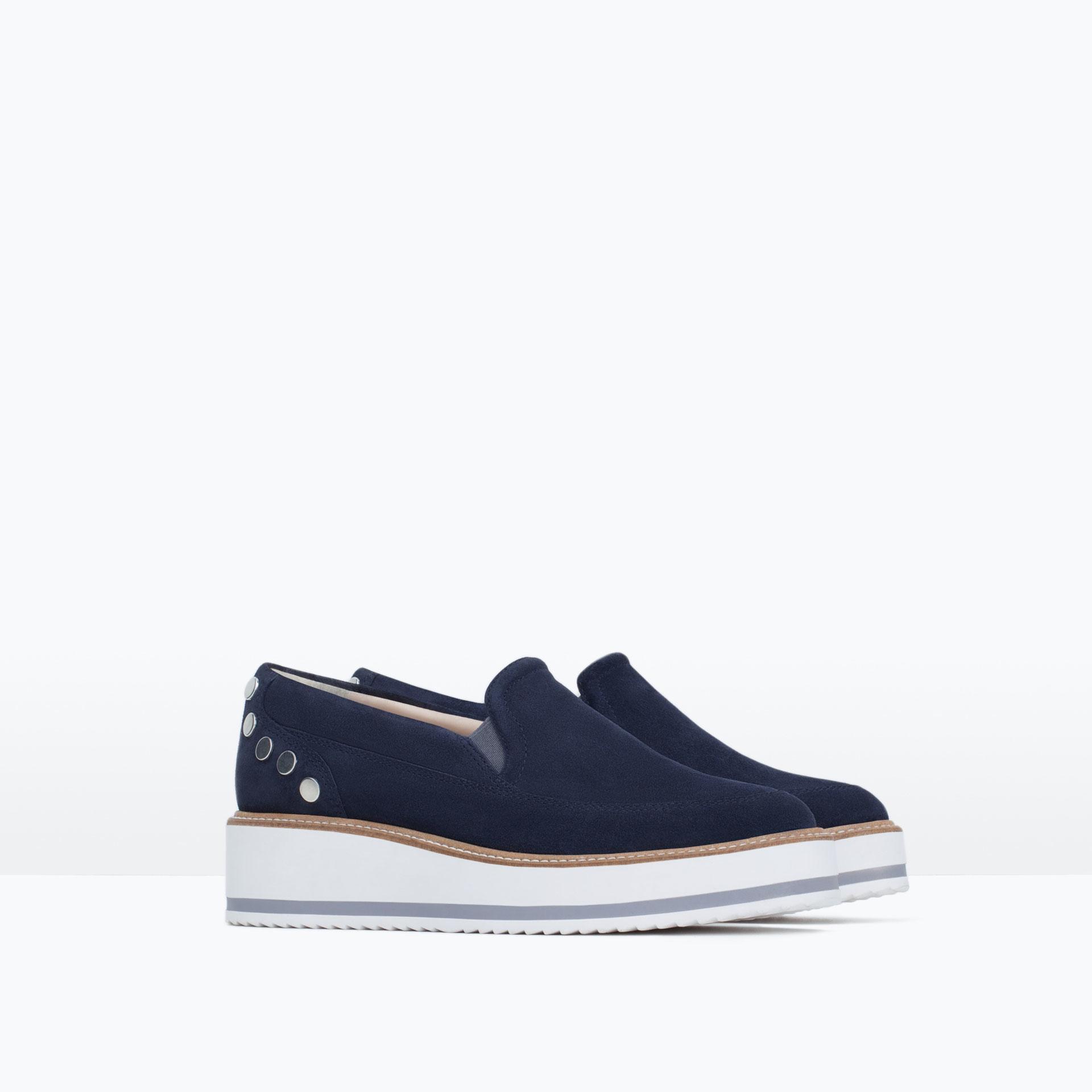 zara suede platform shoes in blue lyst