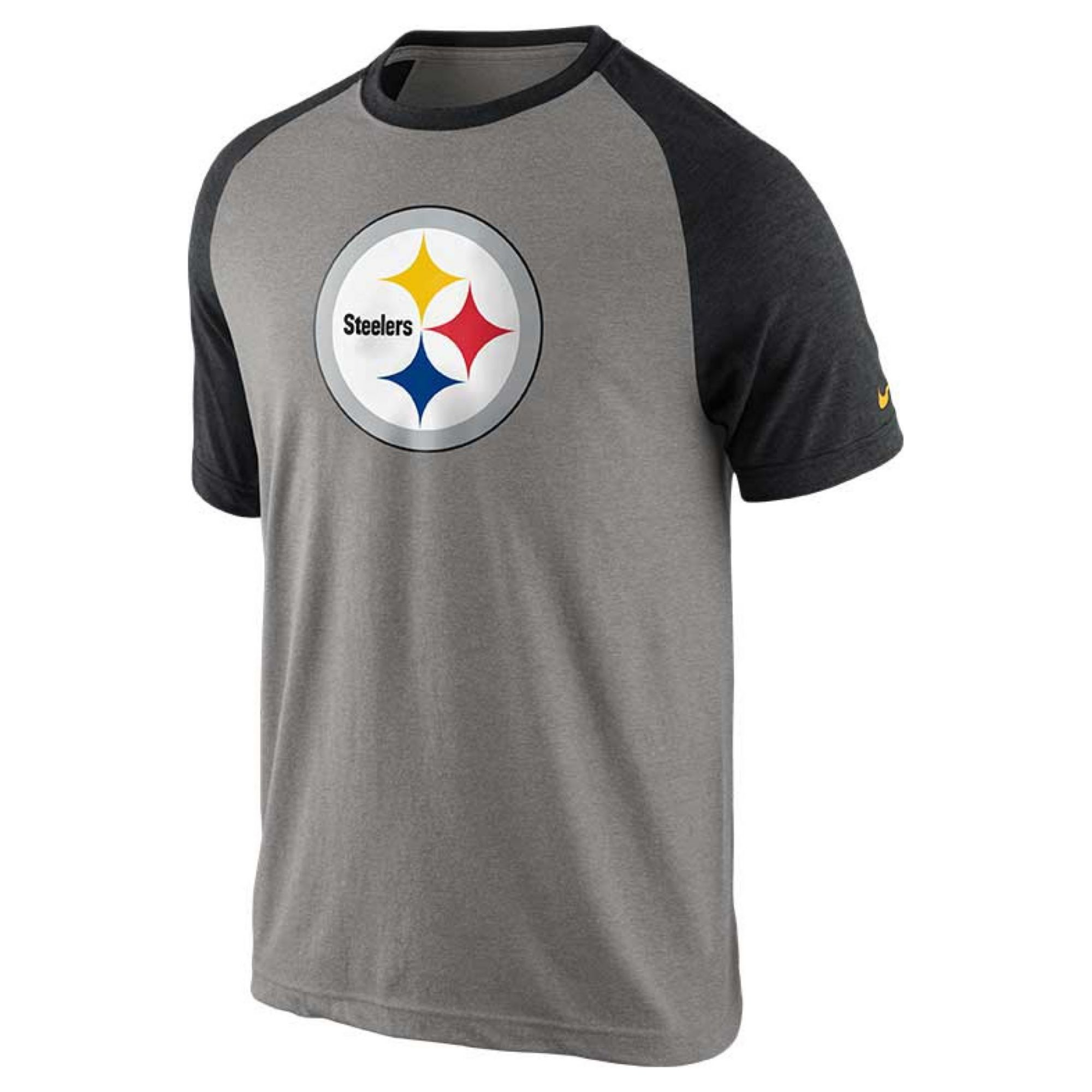 Nike mens pittsburgh steelers raglan tshirt in black for for Pittsburgh t shirt printing