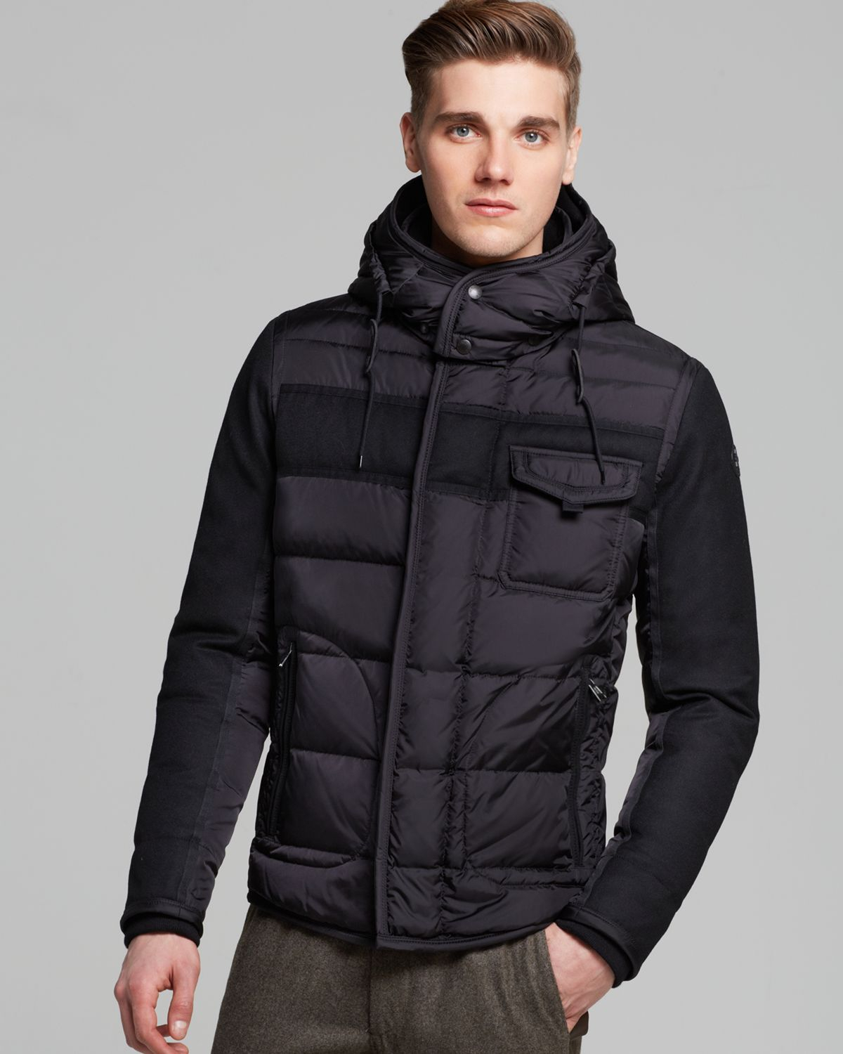 moncler ryan hooded down jacket in black for men lyst. Black Bedroom Furniture Sets. Home Design Ideas