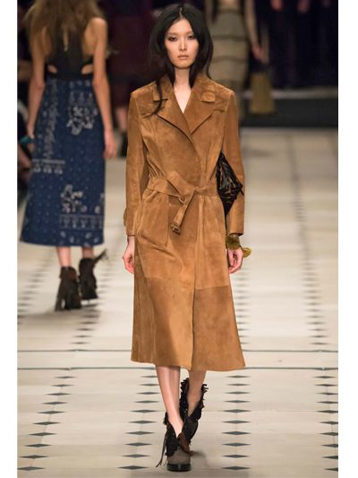 Lyst Burberry Prorsum Fringed Suede Trench Coat With