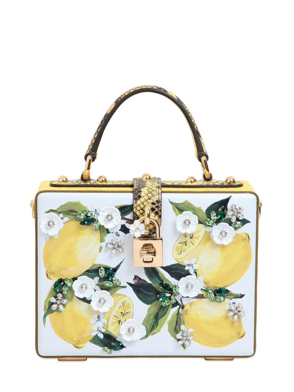 f60221b9d4bd Lyst - Dolce   Gabbana Lemon Printed Leather Dolce Bag in Yellow