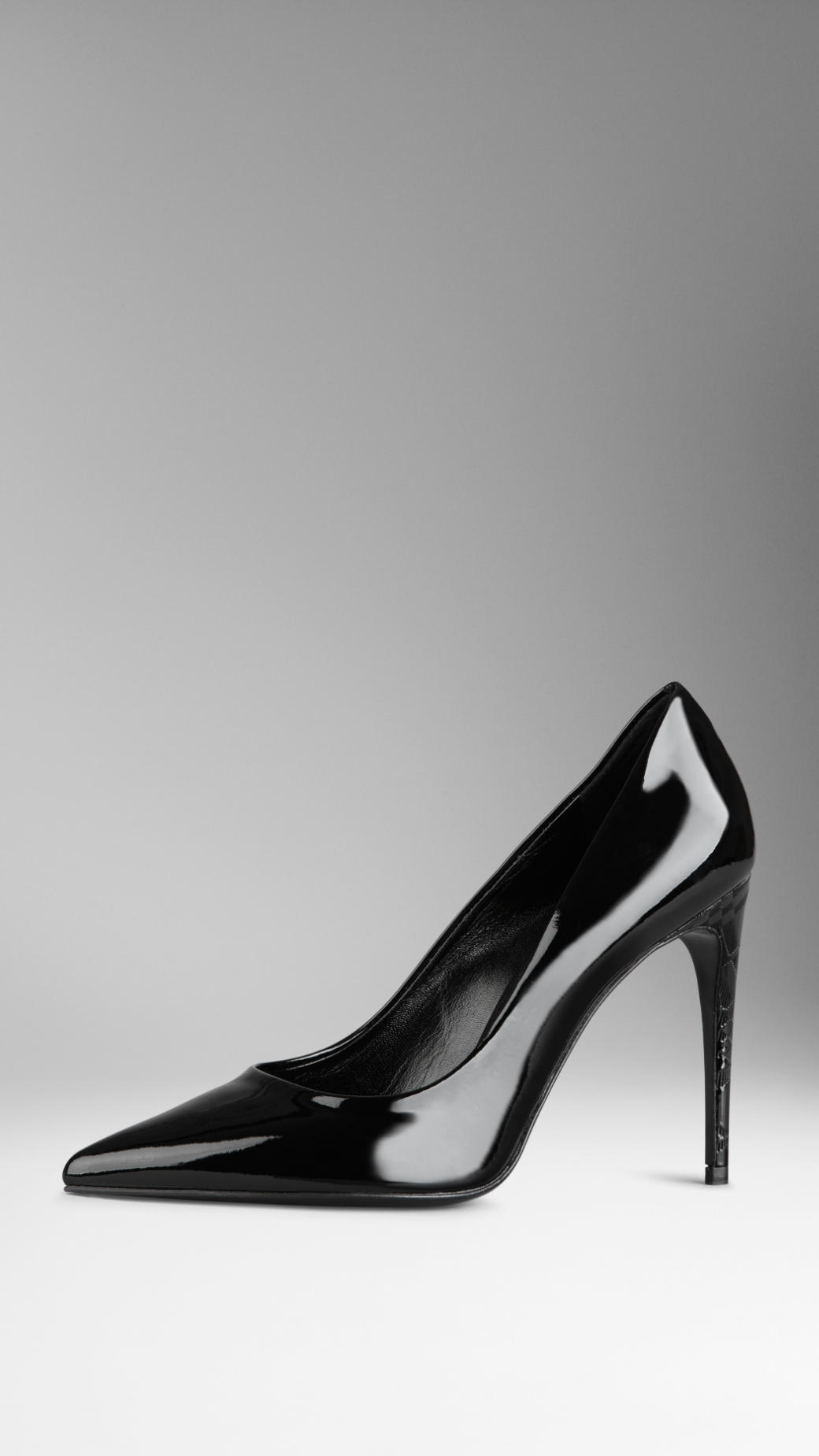 aa6bcc7c1f1 Lyst - Burberry Patent Leather Embossed Check Heel Pumps in Black