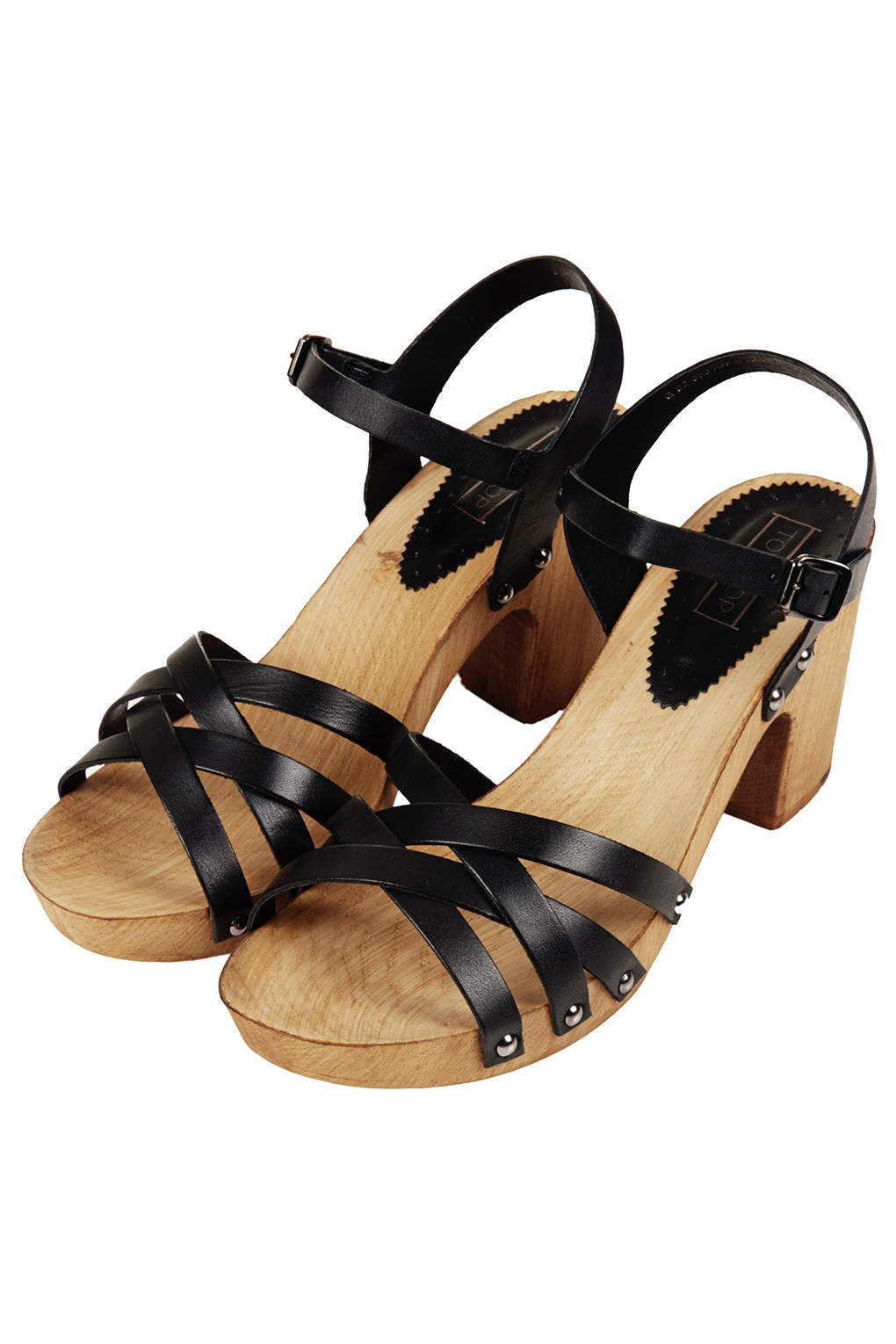 08fd8a93c6d Lyst - TOPSHOP Nancy Chunky Wooden Sandals in Black