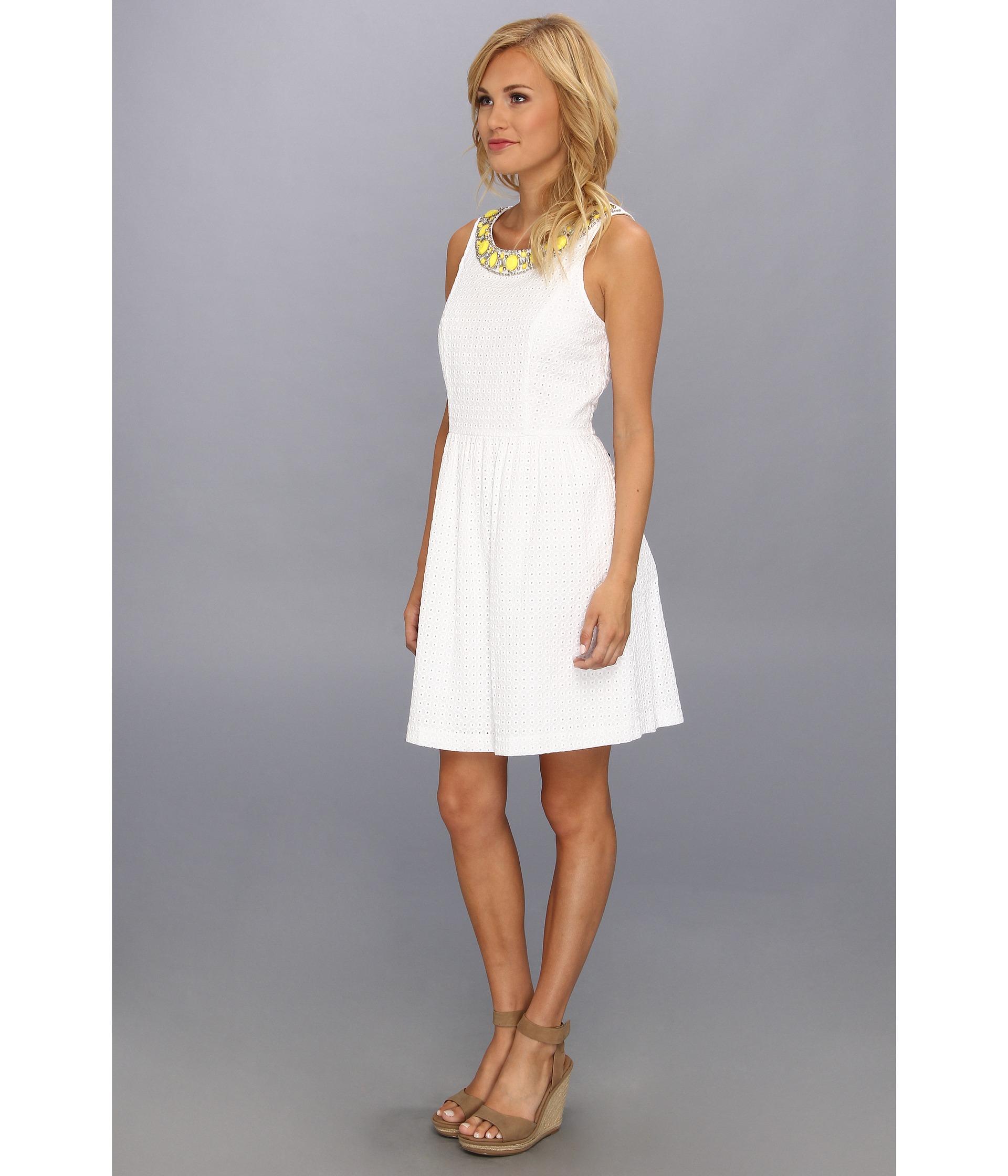 dccd8fb770ee1 Lyst - Kensie Geo Eyelet Dress in White