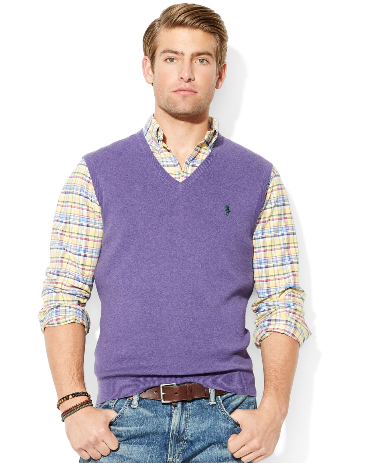 Polo ralph lauren Pima-Cotton V-Neck Vest in Purple for Men | Lyst
