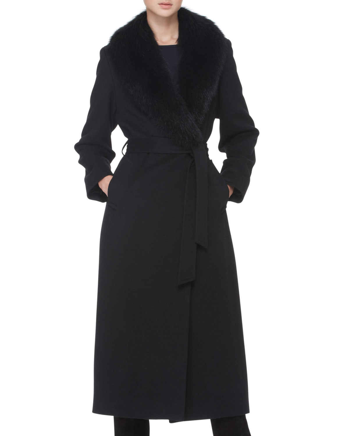 Lyst Sofia Cashmere Fur Collar Long Wrap Coat In Black
