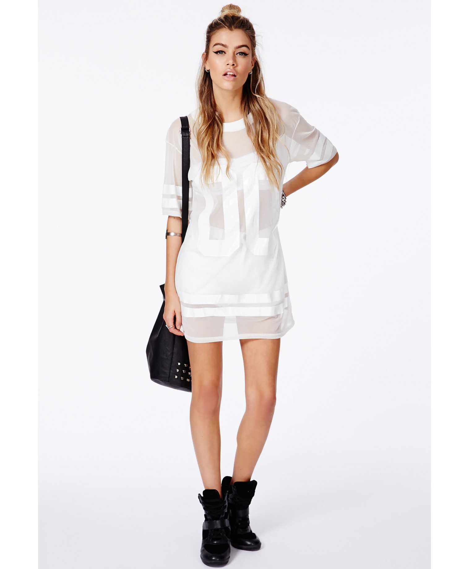Missguided Hugette White American Football Mesh T-Shirt in White - Lyst 7ecddcd26