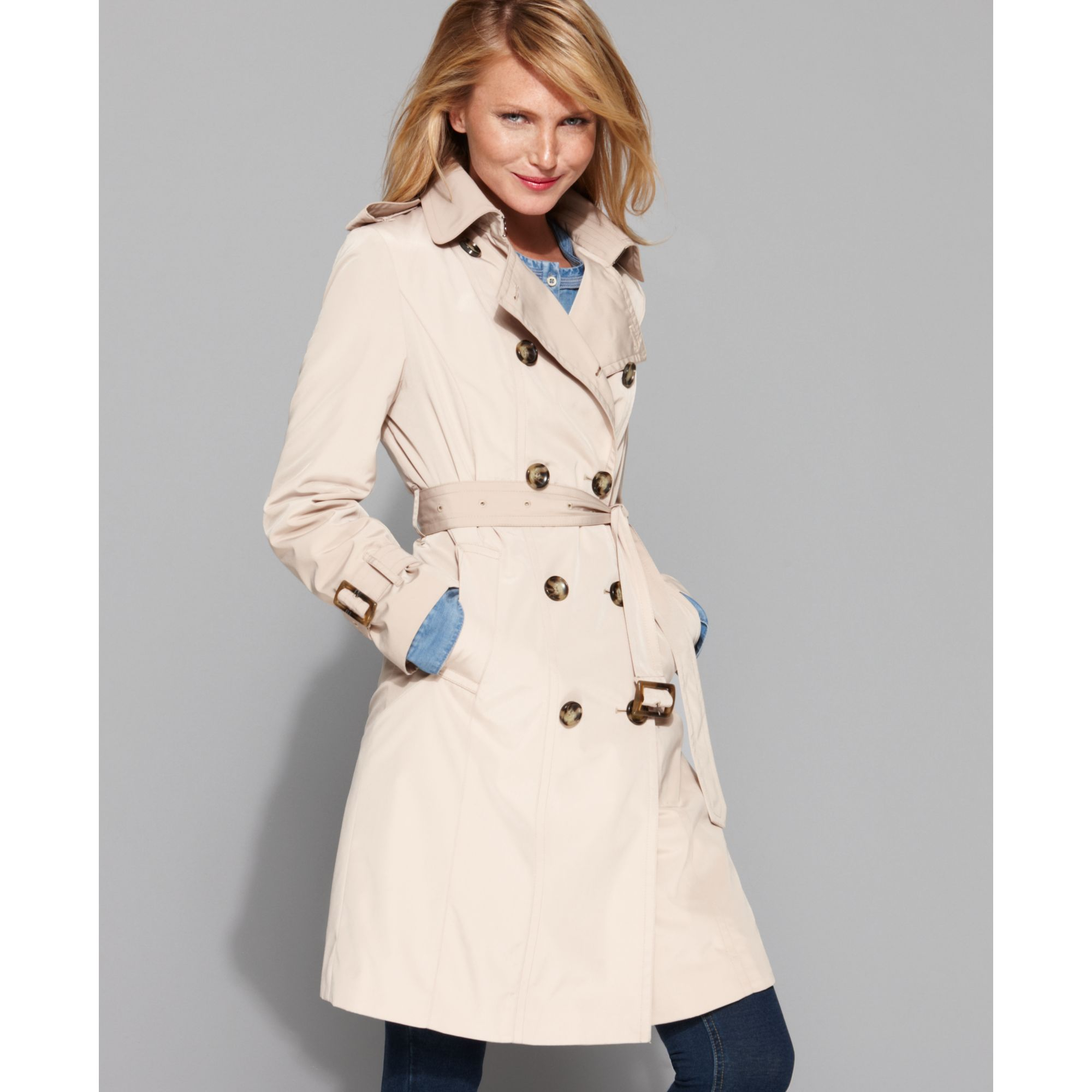33eb74f49cd Lyst - London Fog Double Breasted Belted Trench Coat in Natural