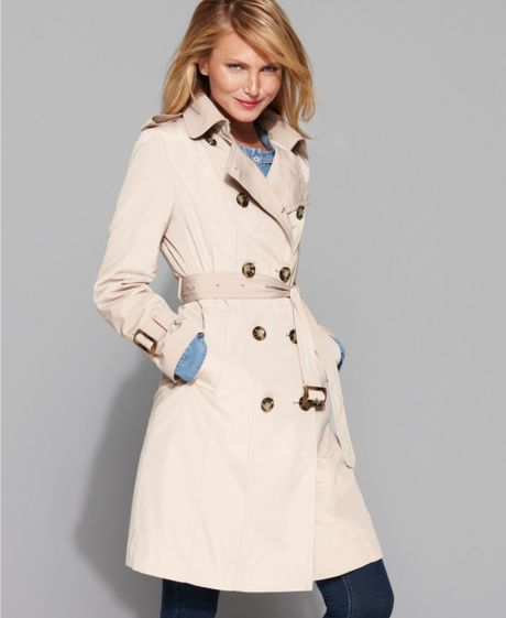 London Fog Double Breasted Belted Trench Coat In Beige