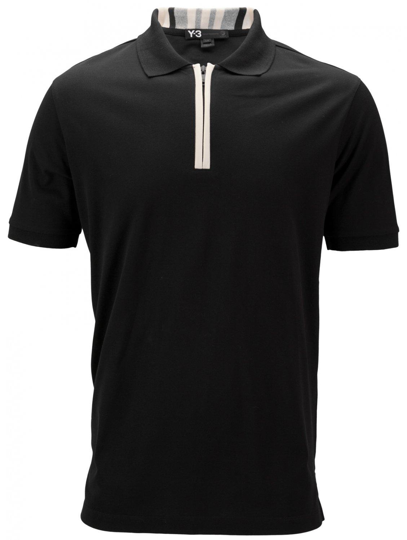 y 3 summer zip neck polo shirt black in black for men lyst. Black Bedroom Furniture Sets. Home Design Ideas