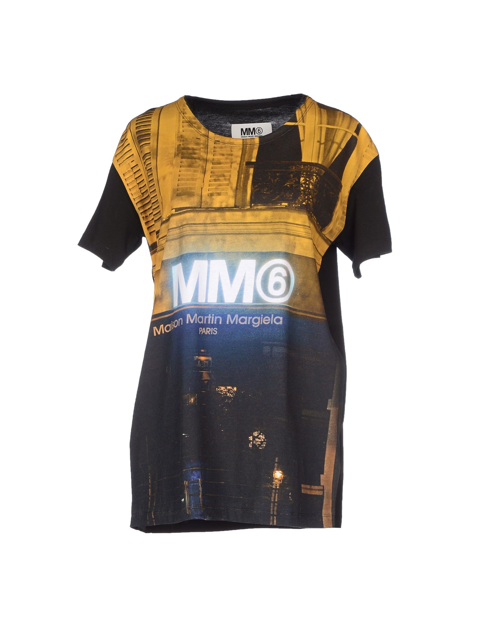 mm6 by maison martin margiela t shirt in yellow lyst