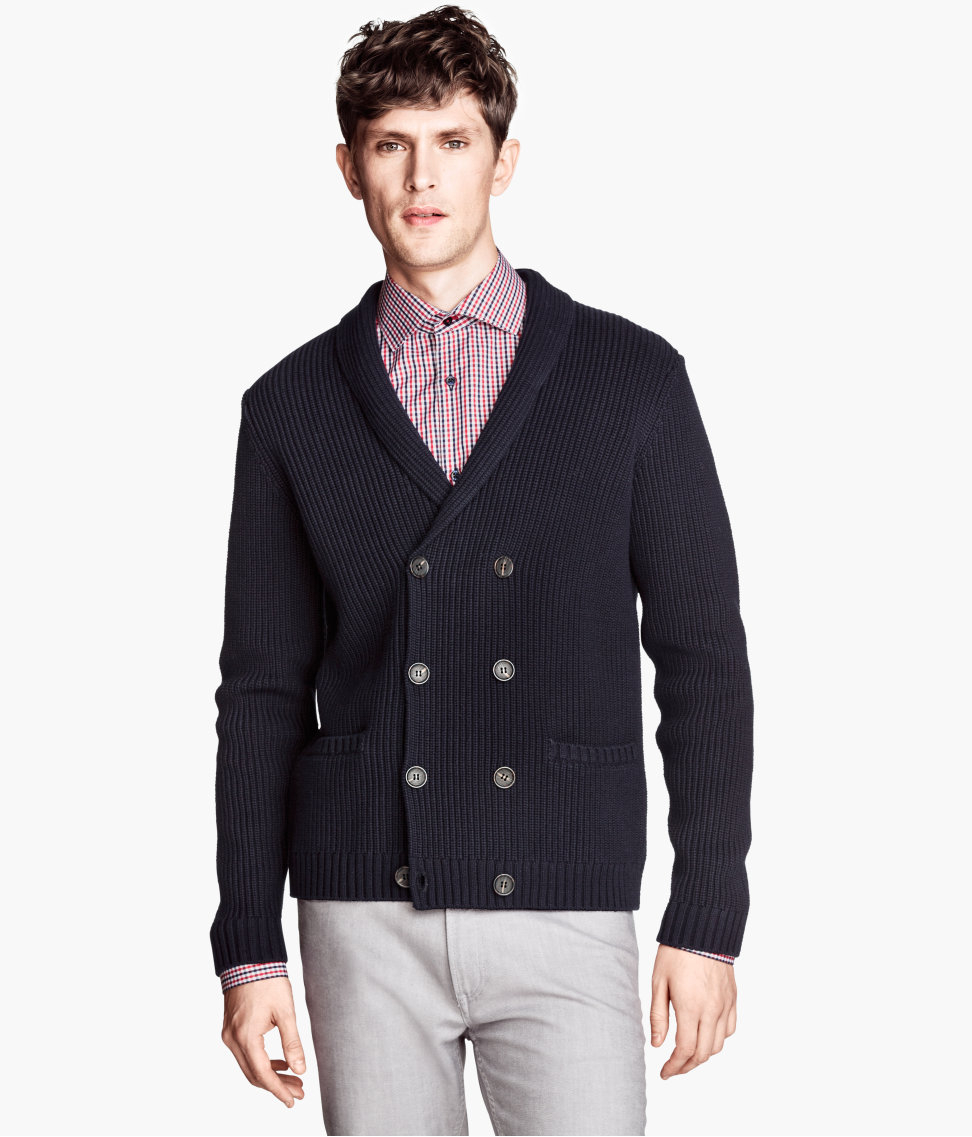 lyst h m doublebreasted cardigan in blue for men