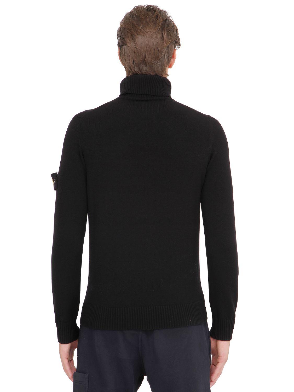 Stone Island Wool Blend Turtleneck Sweater In Black For