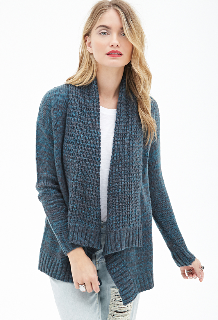 Forever 21 Marled Shawl Collar Cardigan in Blue | Lyst