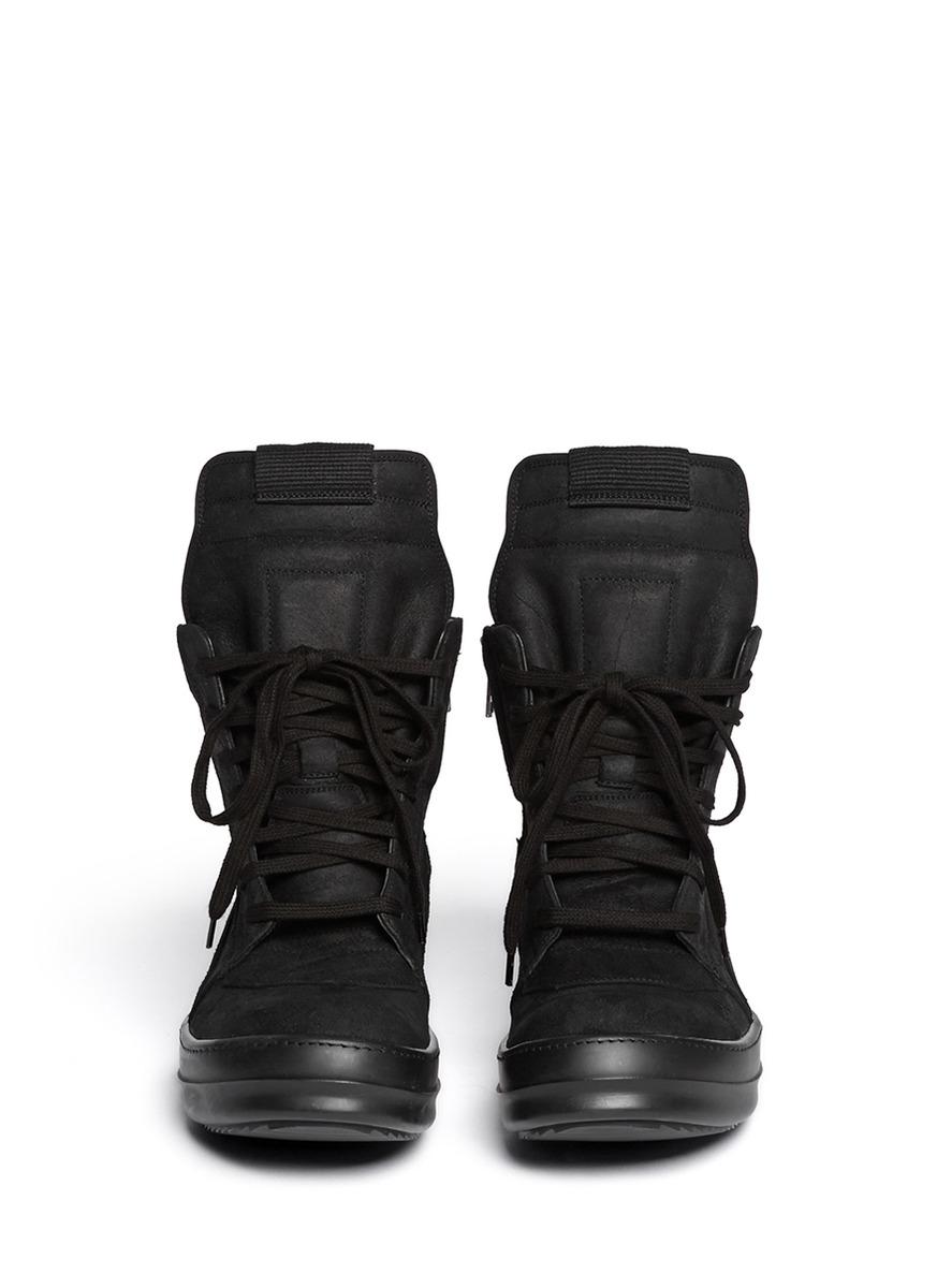 rick owens geobasket suede high top sneakers in black lyst. Black Bedroom Furniture Sets. Home Design Ideas
