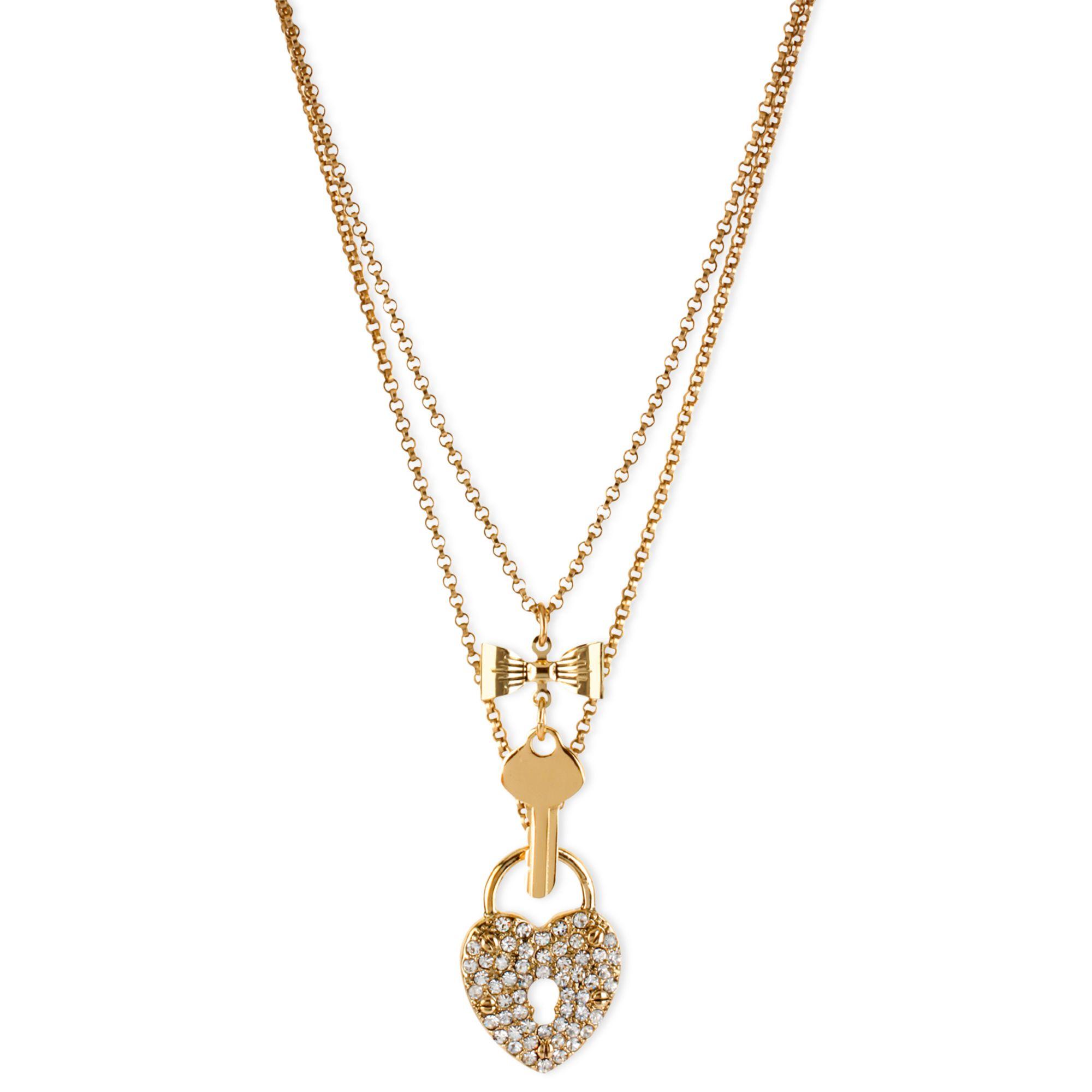 Betsey Johnson Gold-Tone Glass Heart Lock And Key 2-Row ...