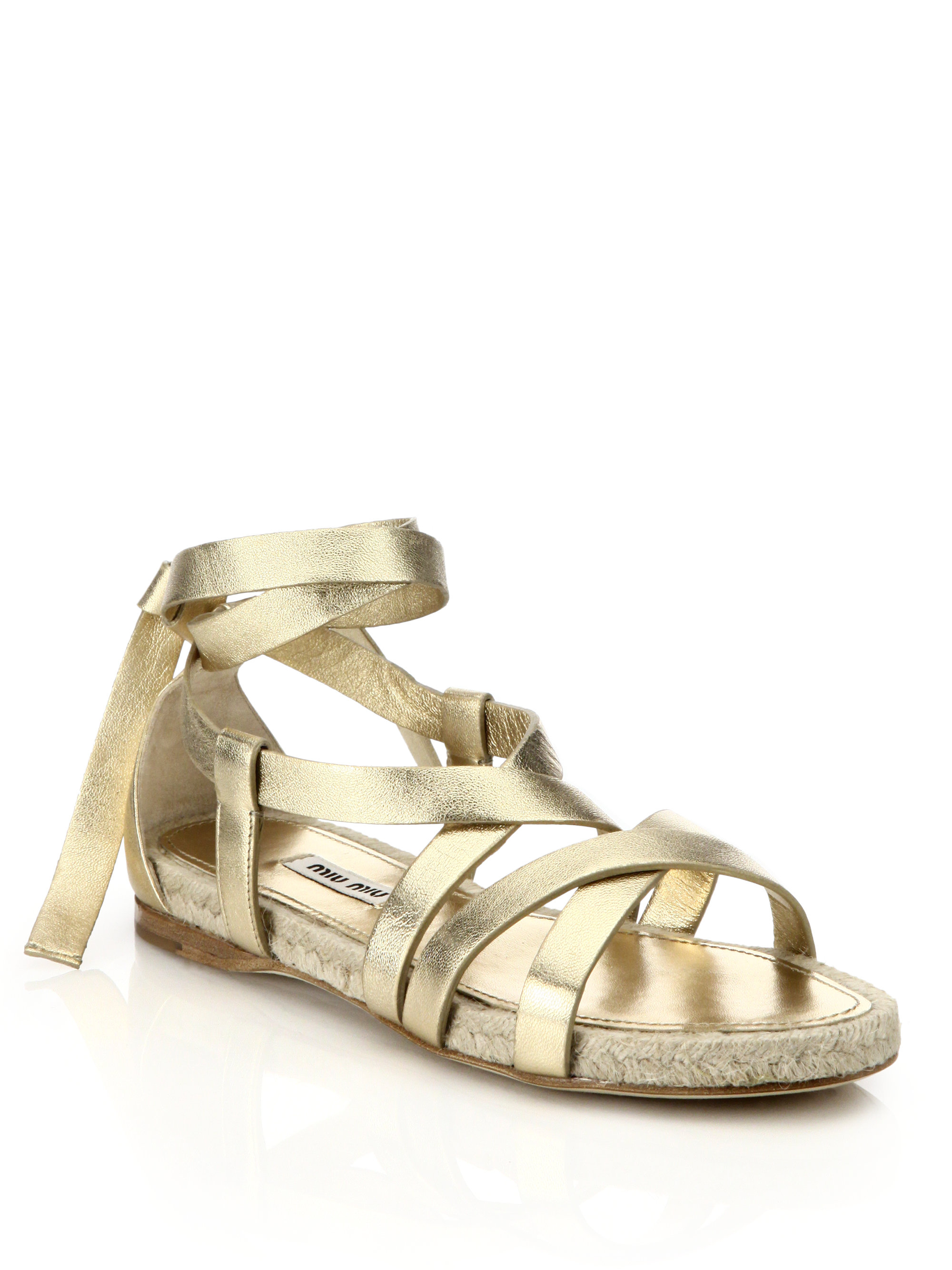 261f47b60f2 Lyst - Miu Miu Metallic Leather Ankle-tie Espadrille Sandals in Metallic