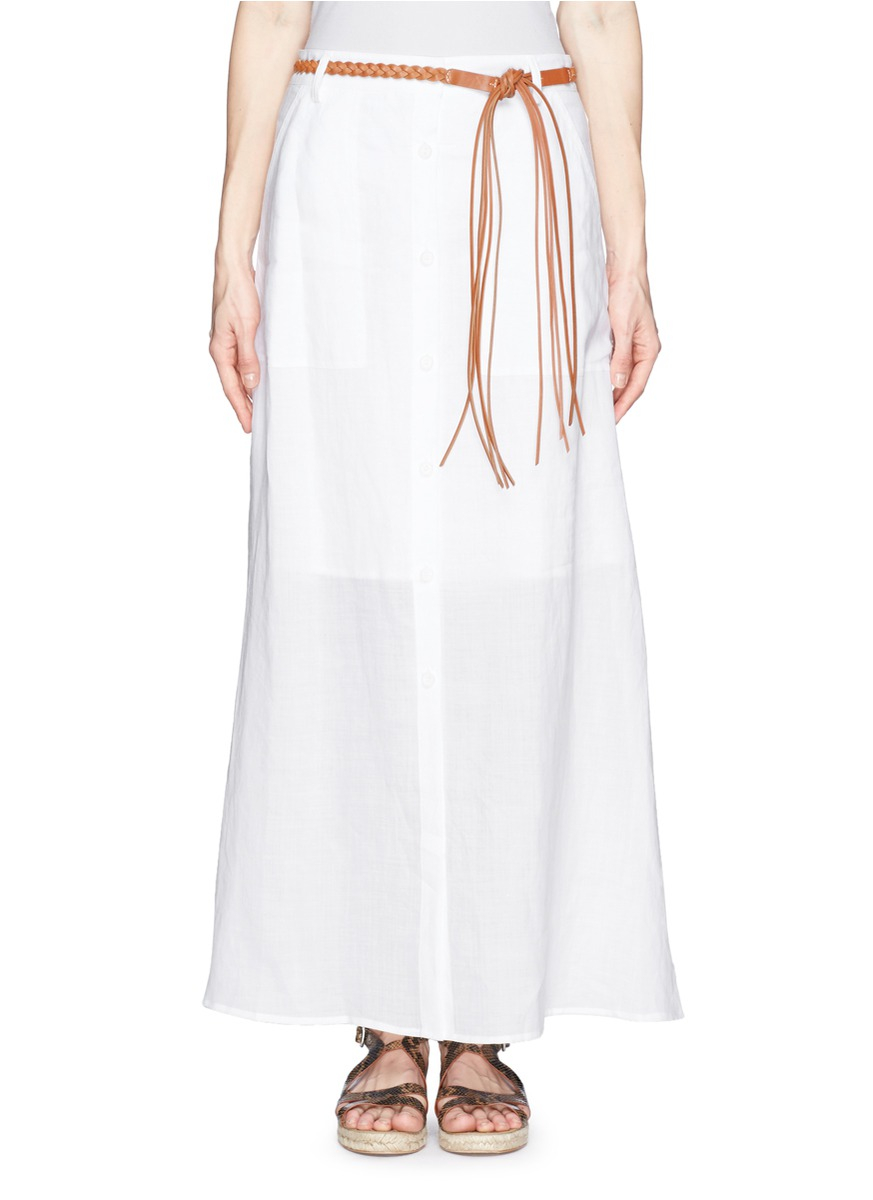 theory tylary button front maxi skirt in white lyst
