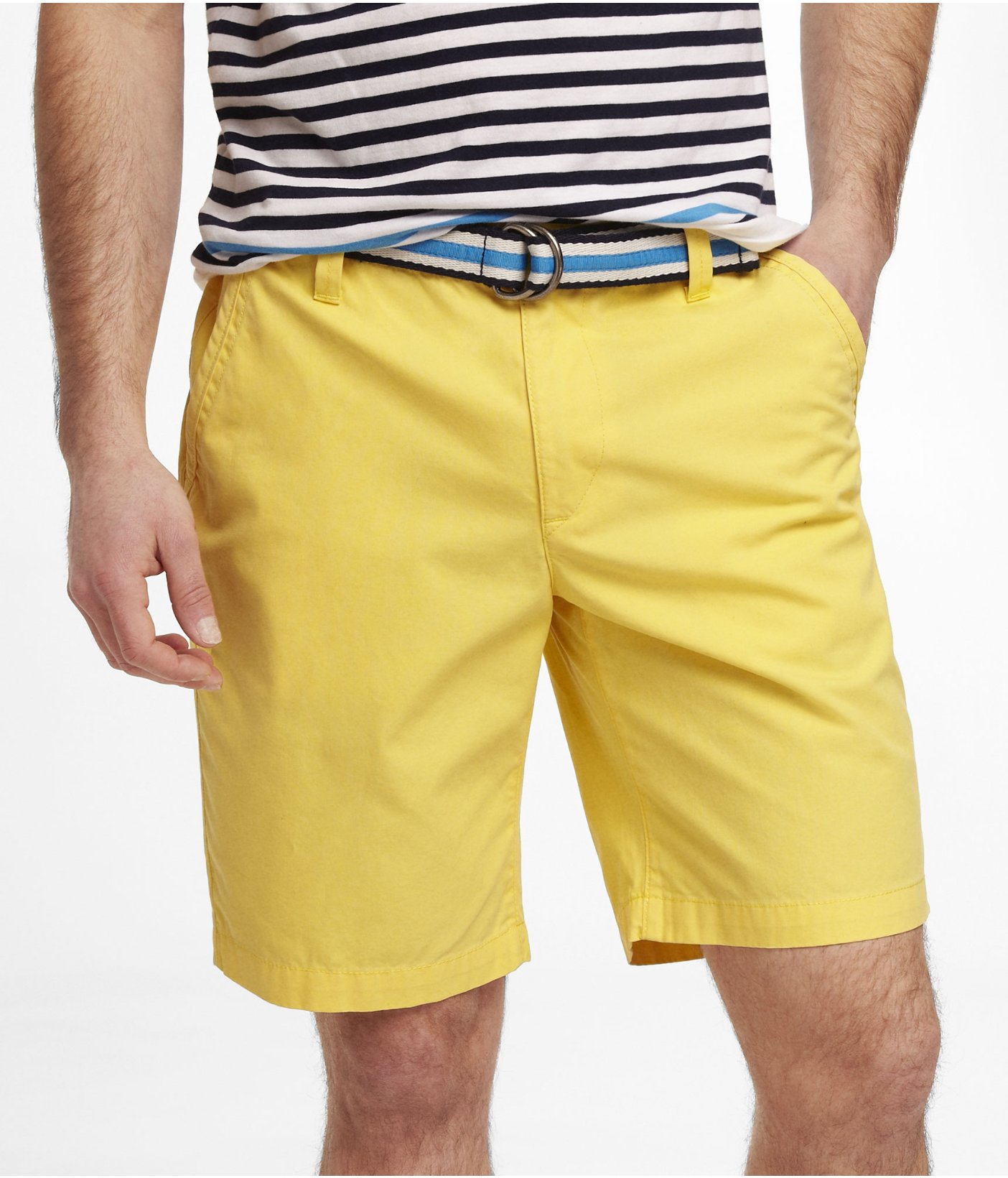 f8215b6a72 Express 10 Inch Belted Lennox Shorts in Yellow for Men - Lyst