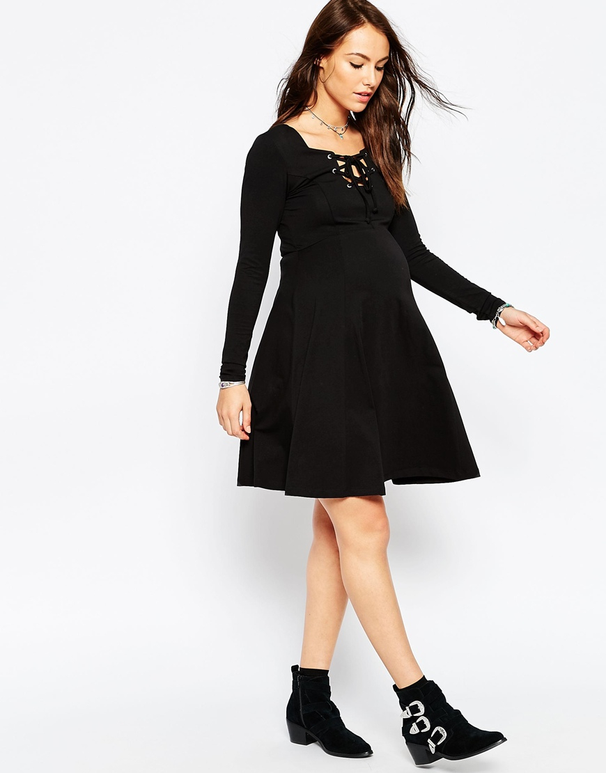 3c14195b78 Lyst - ASOS Skater Dress With Lace Up Front in Black