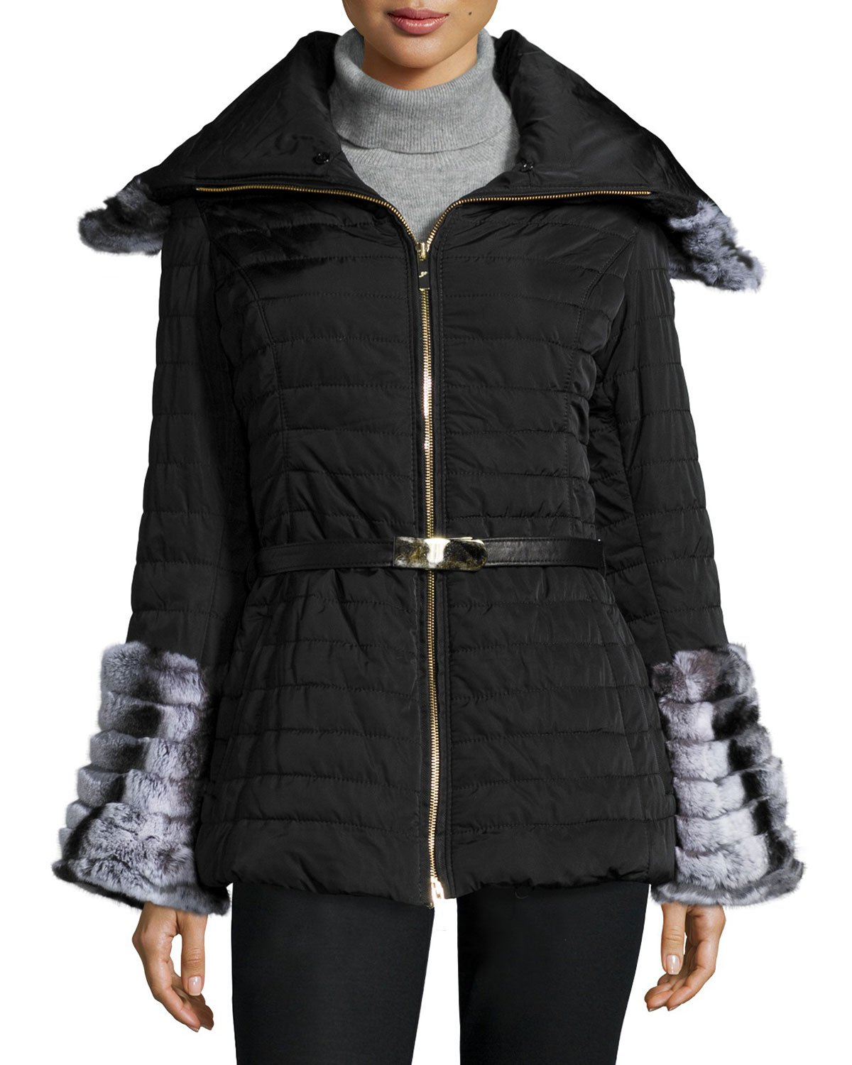 Lyst Gorski Apr 232 S Ski Fur Collar Amp Cuff Puffer Jacket In