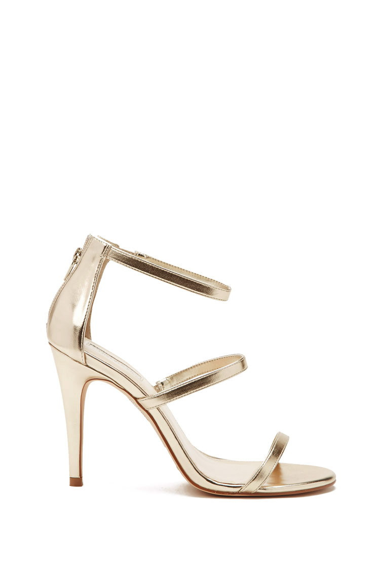 Forever 21 Strappy Metallic Heels in Metallic | Lyst