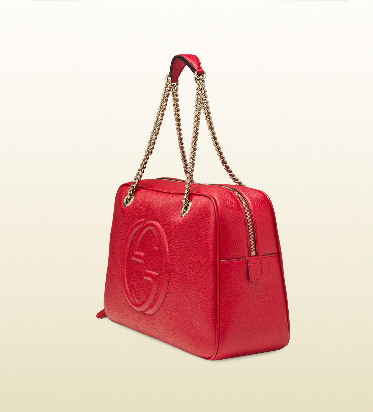 e7be64cc22862 Lyst - Gucci Soho Leather Chain Shoulder Bag in Red