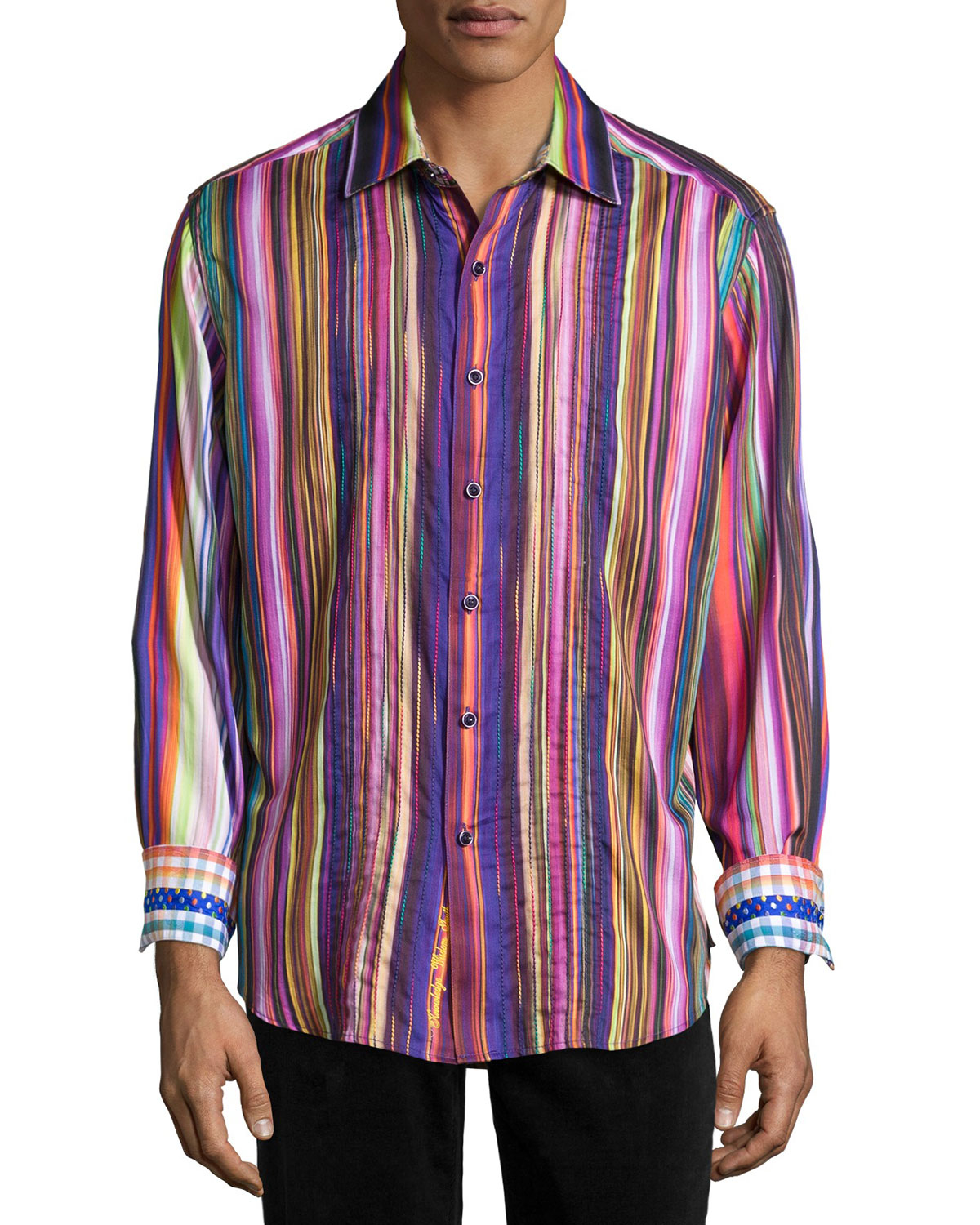 Robert graham veracruz embroidered striped classic fit for Where are robert graham shirts made