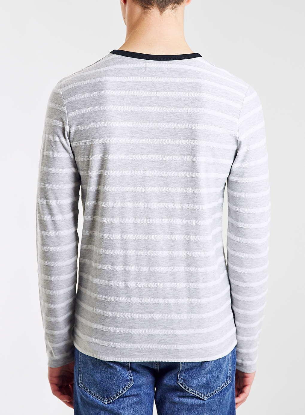Topman white grey striped long sleeve ringer t shirt in for Blue and white striped long sleeve t shirt