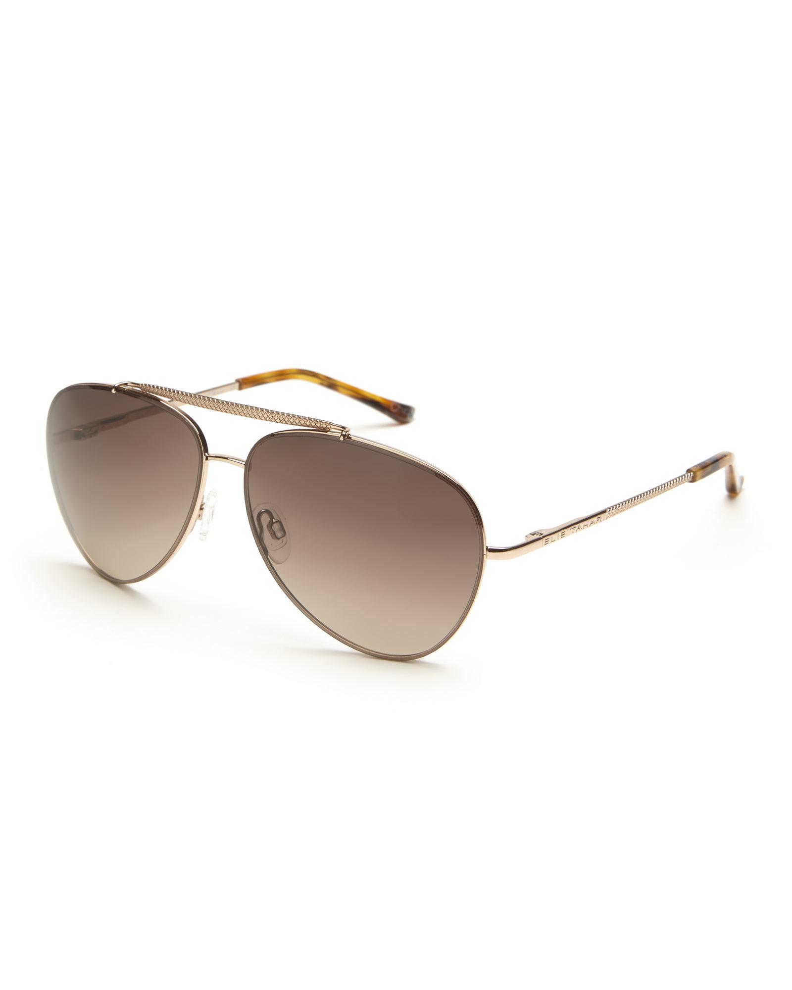 d3f27872e5 Lyst - Elie Tahari Rose Gold-Tone 144 Aviator Sunglasses in Brown ...
