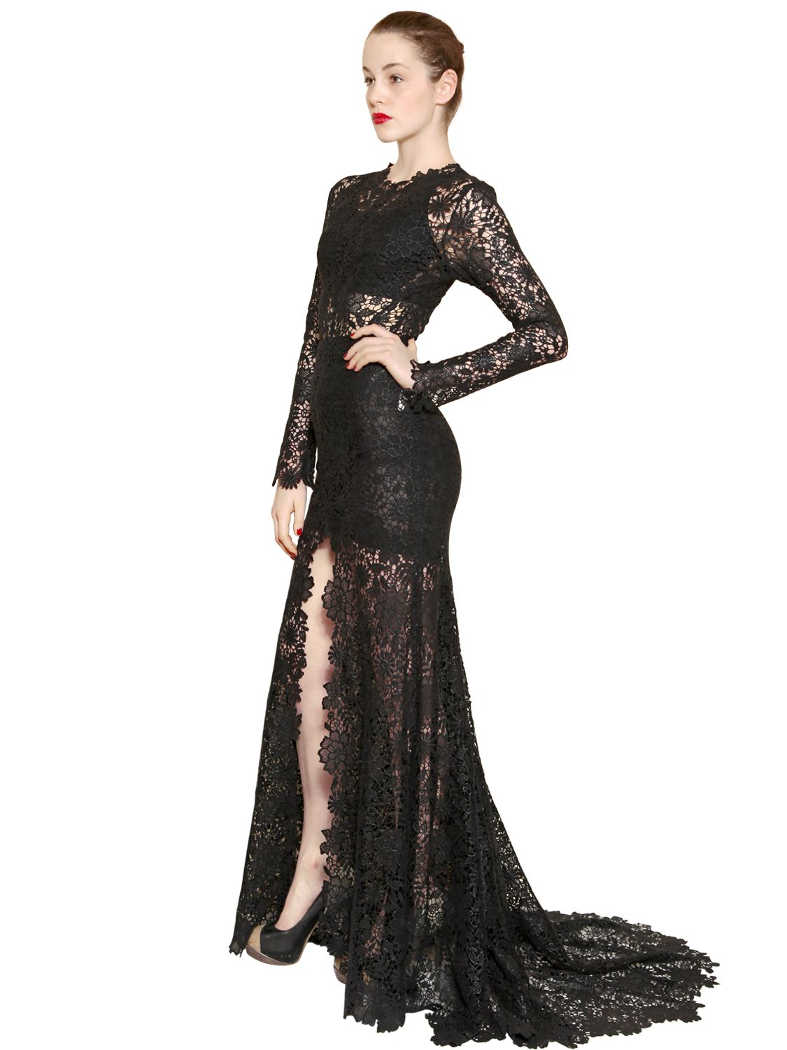 Maria Lucia Hohan Cotton Lace Long Dress In Black Lyst