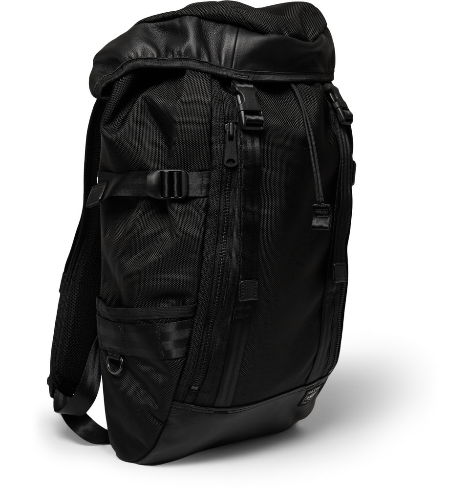 Porter Leather Trimmed Woven Nylon Canvas Backpack In