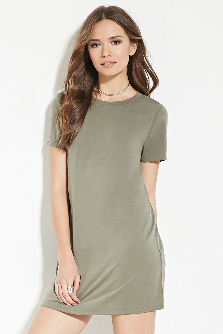 forever 21 contemporary tshirt dress in green  lyst