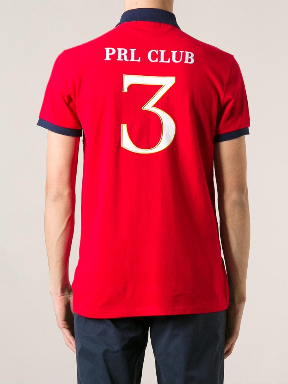 Lyst polo ralph lauren prl club polo shirt in red for men for Ralph lauren polo club shirts