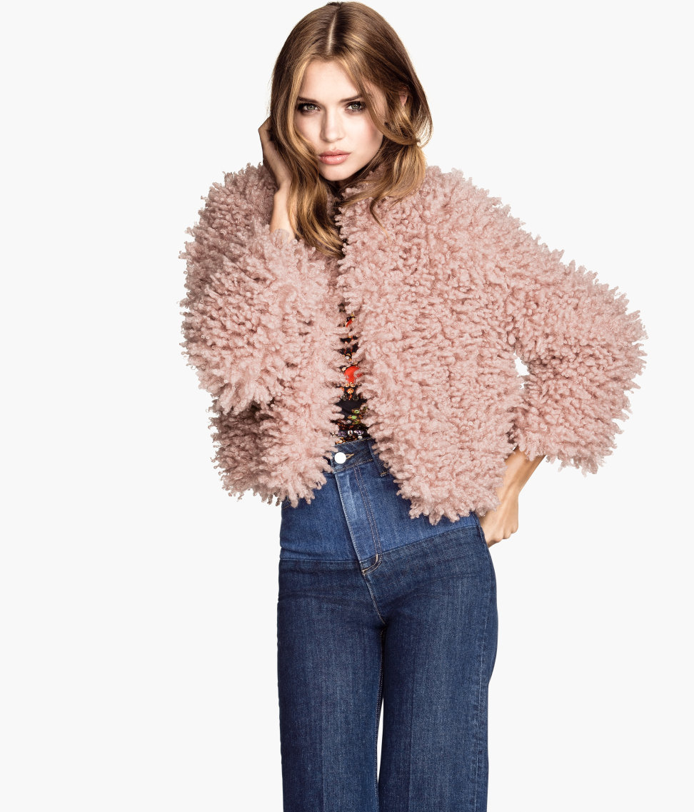 H&m Fake Fur Jacket in Pink | Lyst