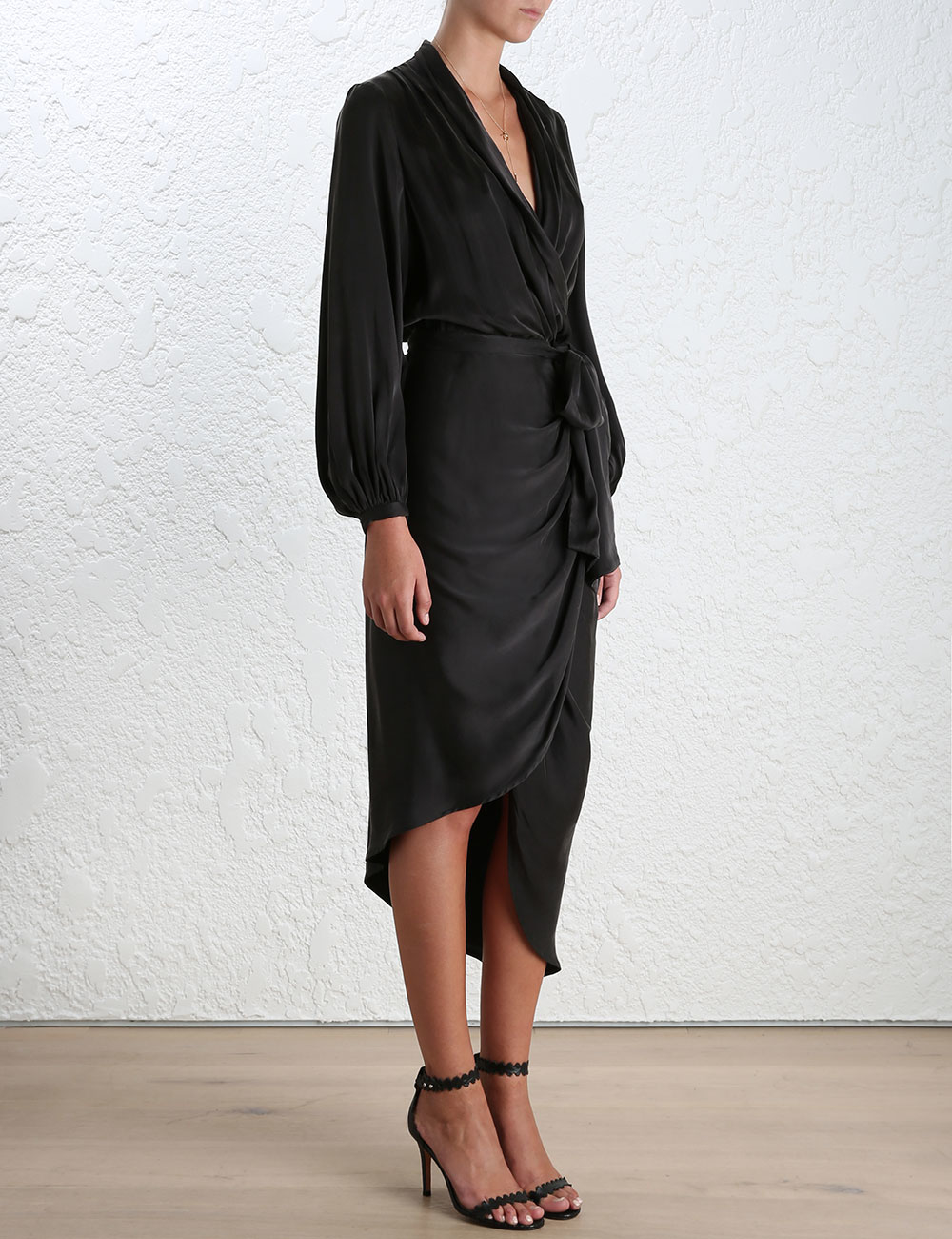 Zimmermann Sueded Silk Wrap Robe In Black Lyst