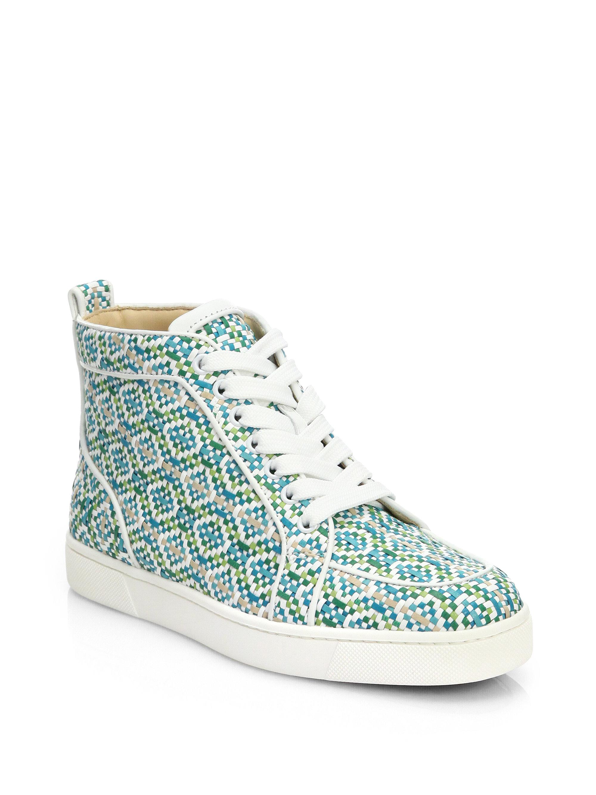 befabfee0ea Lyst - Christian Louboutin Rantus Woven Leather Hightop Sneakers