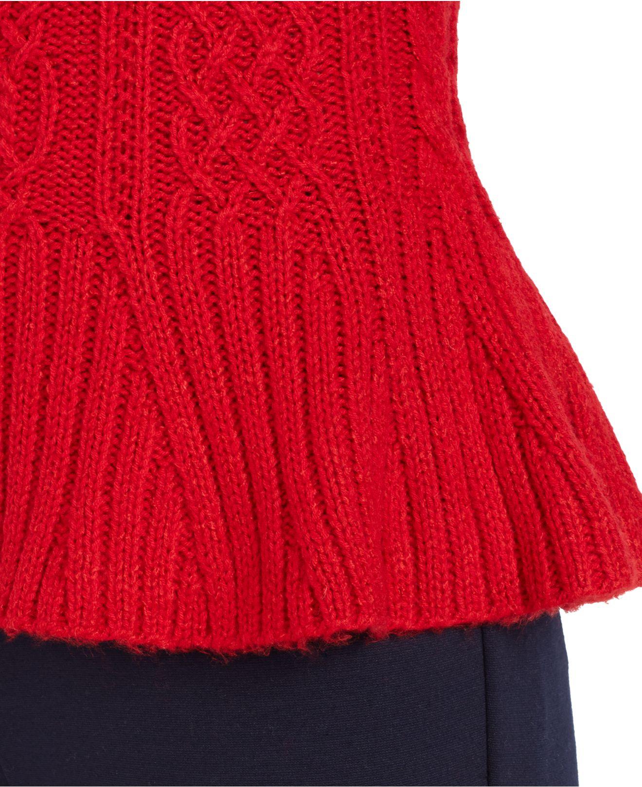 Lauren by ralph lauren Mock-Turtleneck Cable-Knit Peplum Sweater ...