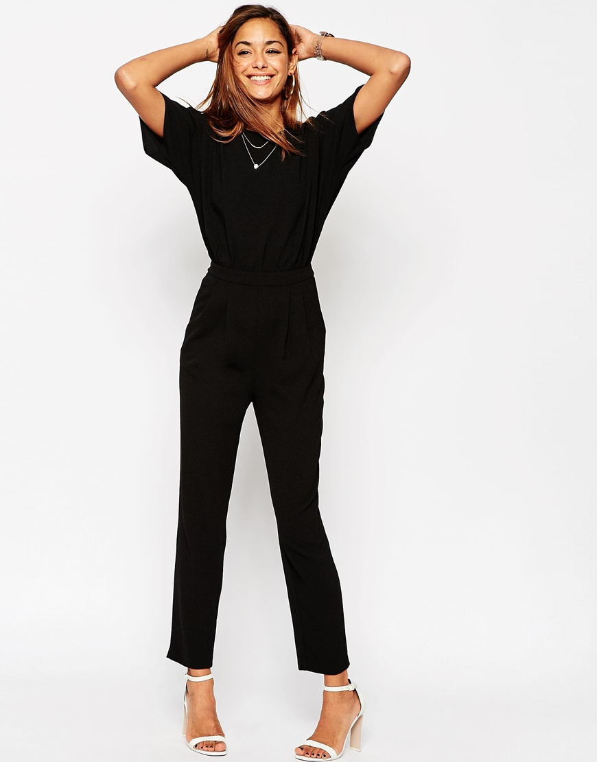 Asos Jumpsuit With Kimono Sleeve in Black | Lyst